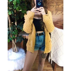 🌿 Vintage Golden Hooded Woven Knit Cardigan 🌿